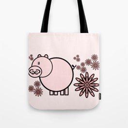 Pink pig in flowers Tote Bag