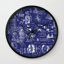 Da Vinci's Sketchbook // Dark Blue Wall Clock