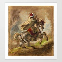 "Eugène Delacroix ""Cavalier Arabe Galopant"" Art Print"