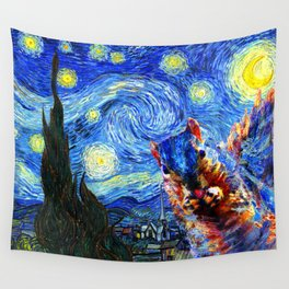 Starry Night Squirrel Photo Bomb Pop Art Wall Tapestry
