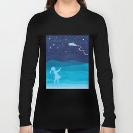Girl with a kite, blue kids watercolor Long Sleeve T-shirt