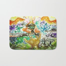 The All Seeing Eye Pyramid Watercolor Painting Bath Mat