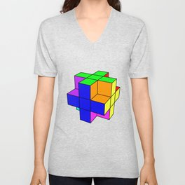 Abstract coloured cube Unisex V-Neck
