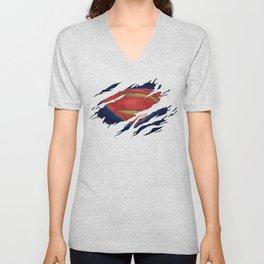 Superman BvS Ripped Symbol Unisex V-Neck