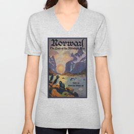 1925 Norway Land Of The Midnight Sun Travel Poster Unisex V-Neck