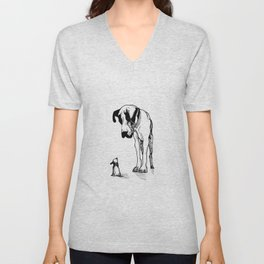 Great Dane & Chihuahua Unisex V-Neck