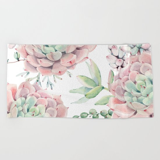 Pink Succulents by Nature Magick Beach Towel
