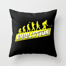 Ice Hockey Player Evolution Sport Trainer Coach Goalie Funny Team Goalkeeper Defender Gift Idea Throw Pillow