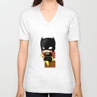 batgirl V-neck T-shirts featuring Chibi Batgirl by artwaste