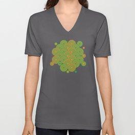 op art pattern retro circles in green and orange Unisex V-Neck