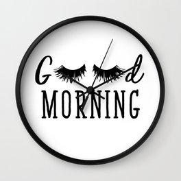 Good Morning - Eyelash Print Wall Clock