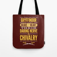 gryffindor Tote Bags featuring Gryffindor by Dorothy Leigh