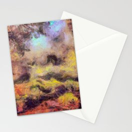 abstract misty forest painting 2 hvhdstd Stationery Cards