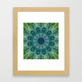Detailed mandala in blue and green clours Framed Art Print