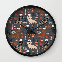 Dachshund nautical sailor dog pet portraits dog costumes dog breed pattern custom gifts Wall Clock