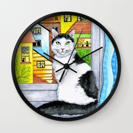 Black & White Cat at the Window Wall Clock