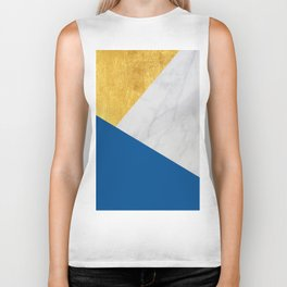 Carrara marble with gold and Pantone Lapis Blue color Biker Tank