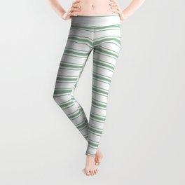 Moss Green and White Mattress Ticking Wide Striped Pattern Leggings