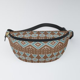 Mudcloth Style 2 in Brown and Teal Fanny Pack
