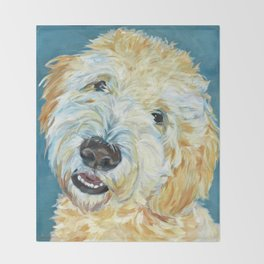 Stanley the Goldendoodle Dog Portrait Throw Blanket