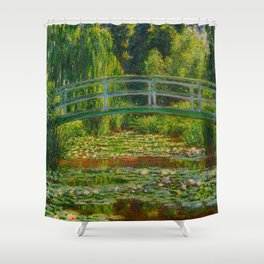 Claude Monet Impressionist Landscape Oil Painting-The Japanese Footbridge and the Water Lily Pool Shower Curtain