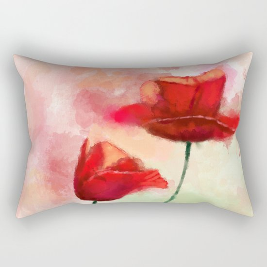 Red Poppy watercolor painting Rectangular Pillow