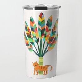Whimsical travelers palm with tiger Travel Mug