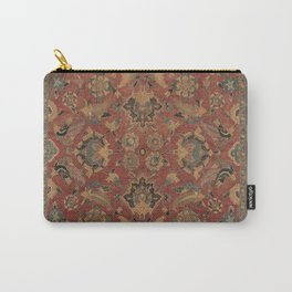 Flowery Boho Rug I // 17th Century Distressed Colorful Red Navy Blue Burlap Tan Ornate Accent Patter Carry-All Pouch