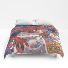 vintage comic spider man  Comforters
