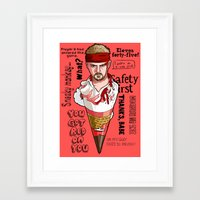 shaun of the dead Framed Art Prints featuring Shaun of the Dead Cornetto by Josh Filhol Illustration