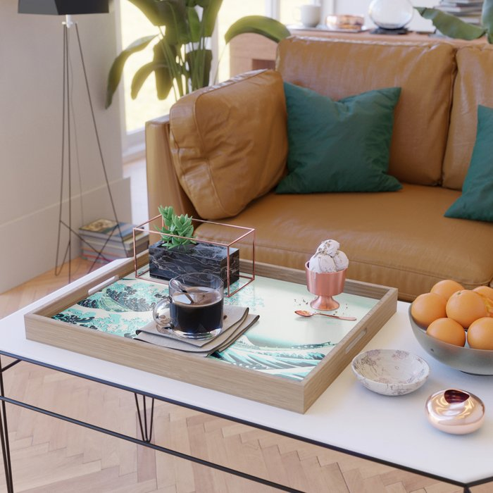 the great wave : aqua teal Serving Tray