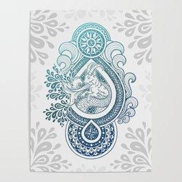 Paisley Capricornus   Turquoise Blue Ombré Poster