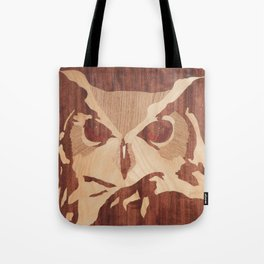 Owl marquetry art picture Tote Bag