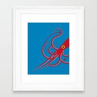 squid Framed Art Prints featuring Squid by Mark Walker