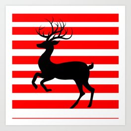 Reindeer On Candy Stripe Art Print
