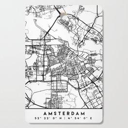 AMSTERDAM NETHERLANDS BLACK CITY STREET MAP ART Cutting Board