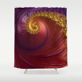 Purple Gold and Red Fractal Spiral Shower Curtain