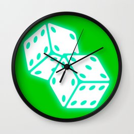 Two game dices neon light design Wall Clock