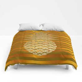 GLITTER PINEAPPLE ON GOLD BROWN STRIPES Comforters