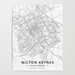 Milton Keynes, United Kingdom - Light Map Poster