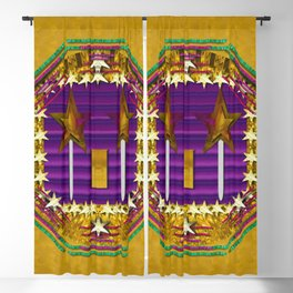 Stars of the magical wand in a golden moonlight night Blackout Curtain