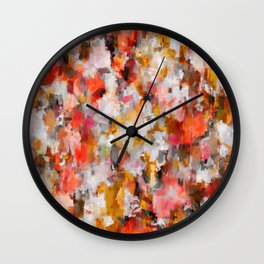 red color pattern - abstract painting design Wall Clock