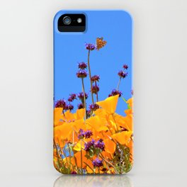 Painted Lady Butterfly loving the Superblooms of Spring by Reay of Light Photography iPhone Case