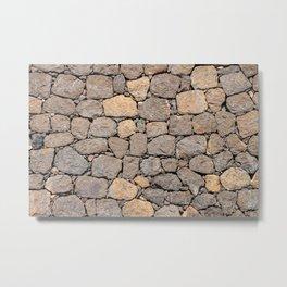 volcanic rock, background, pattern, stone, basalt, patch, maps, brown, road, paved, symmetrical Metal Print