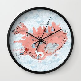 Illustrated Map of Iceland Wall Clock
