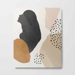 Woman silhouette art, Mid century modern art Metal Print