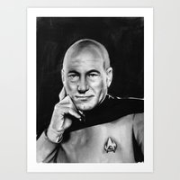 picard Art Prints featuring picard by dollface87