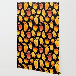 Acorns - Black Wallpaper