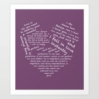 wtnv Art Prints featuring Quotes of the Heart - Cecilos (White) by fairy911911
