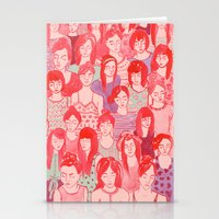it crowd Stationery Cards featuring Girl Crowd by leah reena goren